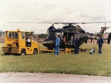G-Lynx being prepared for the World Helicopter Speed Record